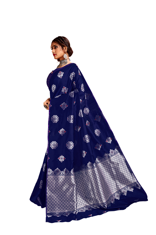 Glemora Navy Blue Lichi Silk Bhagyashree Saree With Unstitched Blouse