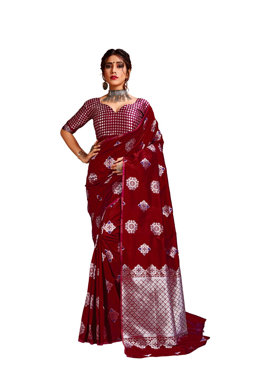 Glemora Red Lichi Silk Bhagyashree Saree With Unstitched Blouse