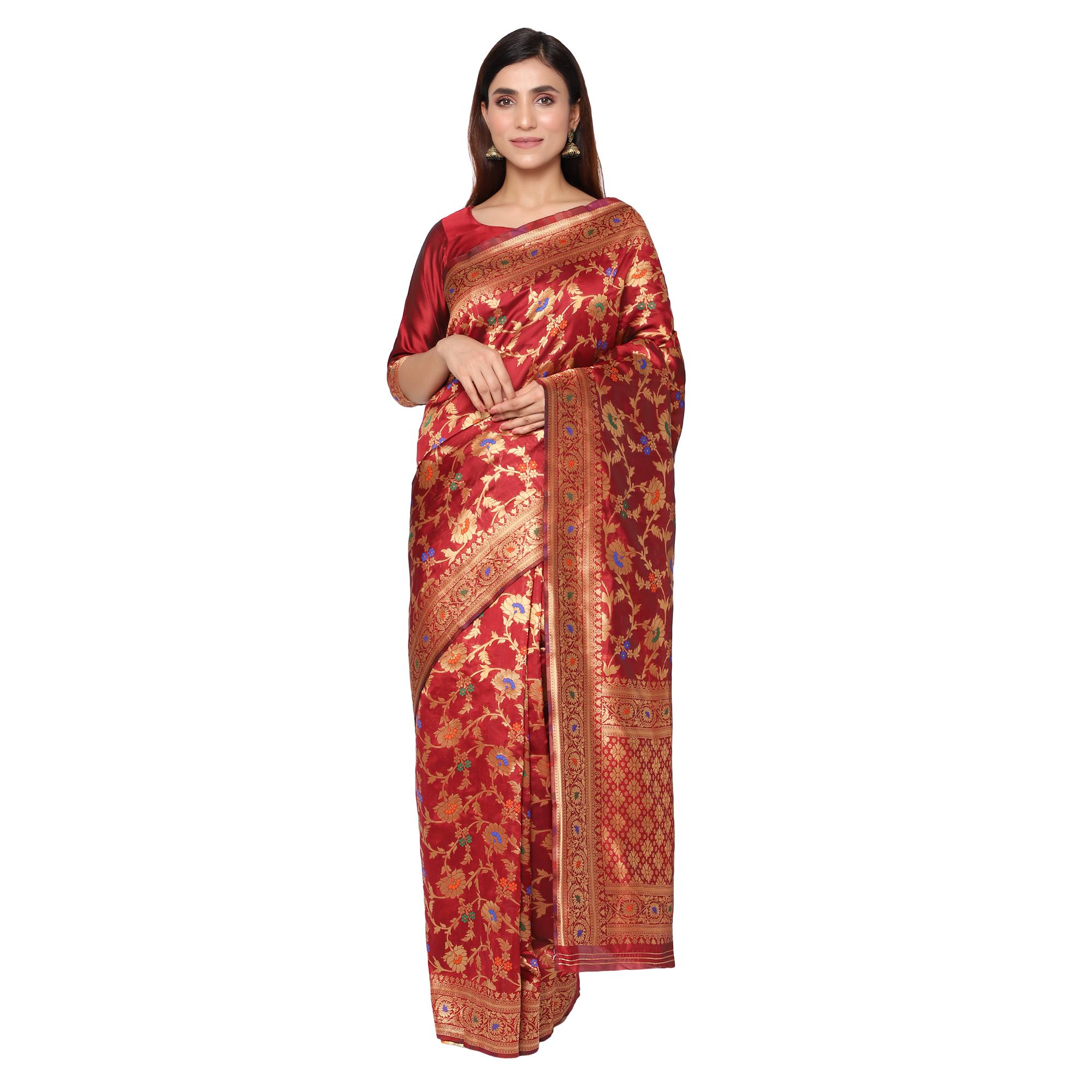 Glemora | Glemora Maroon Beautiful Ethnic Wear Silk Blend Banarasi Traditional Saree