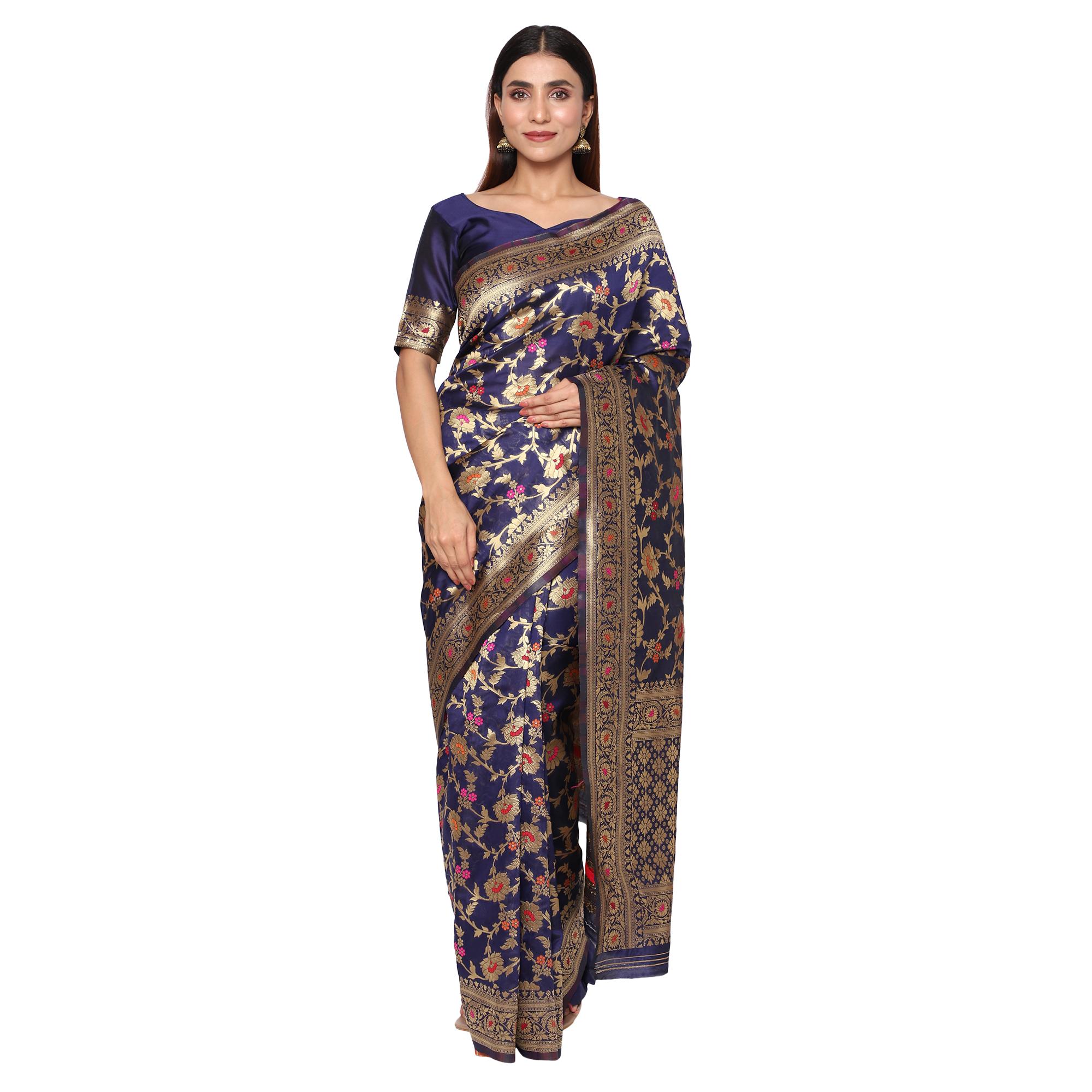 Glemora   Glemora Nevy Blue Beautiful Ethnic Wear Silk Blend Banarasi Traditional Saree
