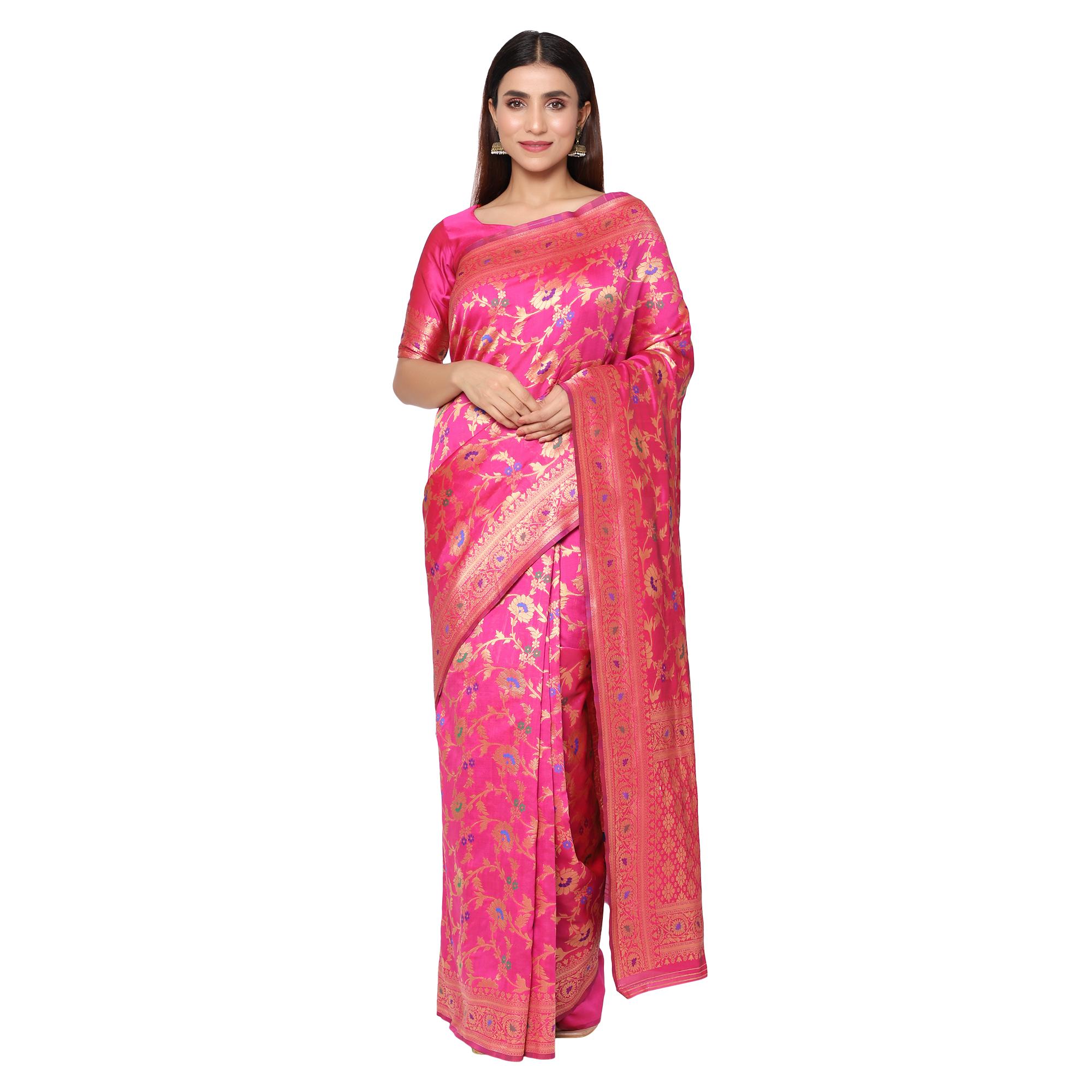 Glemora | Glemora Pink Beautiful Ethnic Wear Silk Blend Banarasi Traditional Saree