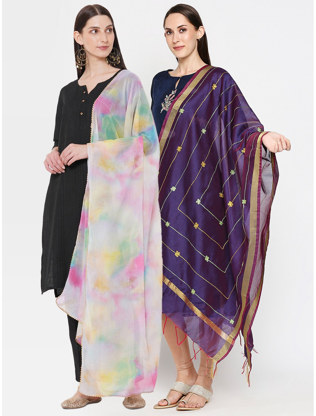 Get Wrapped | Get Wrapped Digital Printed Dupatta & a Gold Border Dupatta for Women - Combo Pack of 2