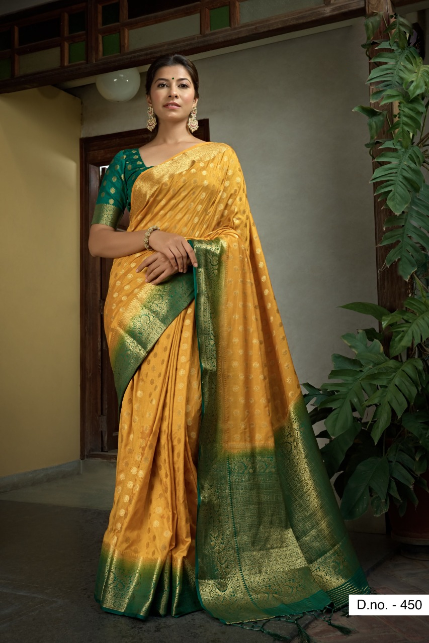 POONAM TEXTILE   Majesty Yellow Colored Festive Wear Woven Raw Silk Saree