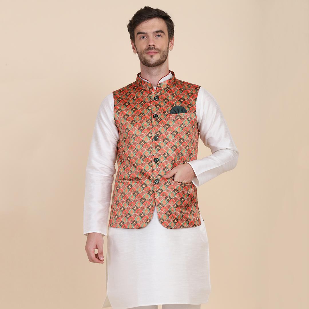 TAHVO   TAHVO men printed Nehru Jacket