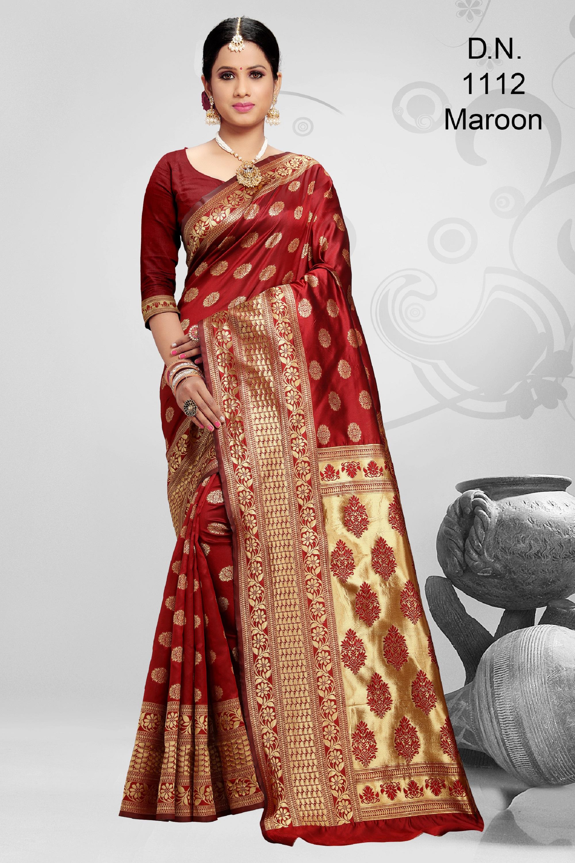 POONAM TEXTILE | Radiant Maroon Festive Wear Woven Banarasi Jacquard Saree