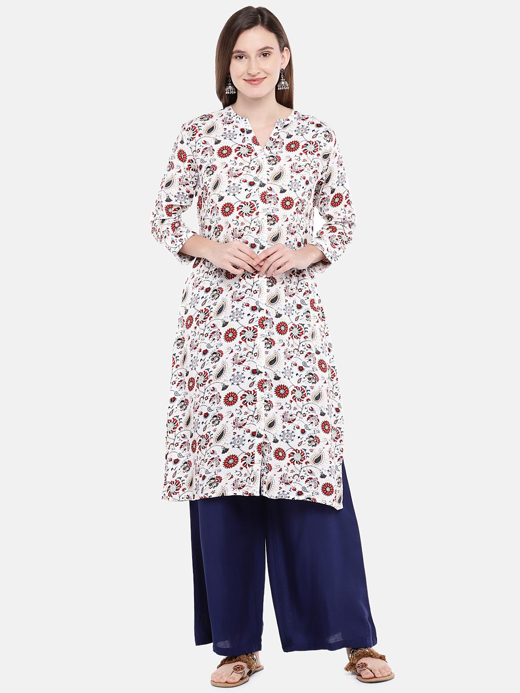 Ethnicity | Ethnicity Off White Rayon Women Tunic