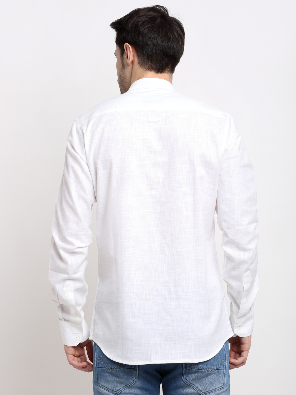 Cross Court | Cross Court Men Cotton White Casual Shirts