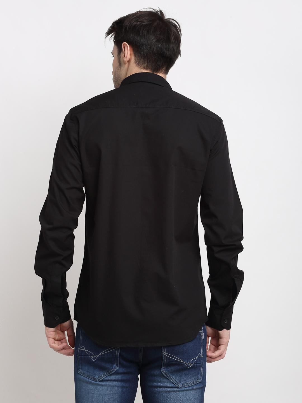 Cross Court | Cross Court Men Cotton Black Casual Shirts