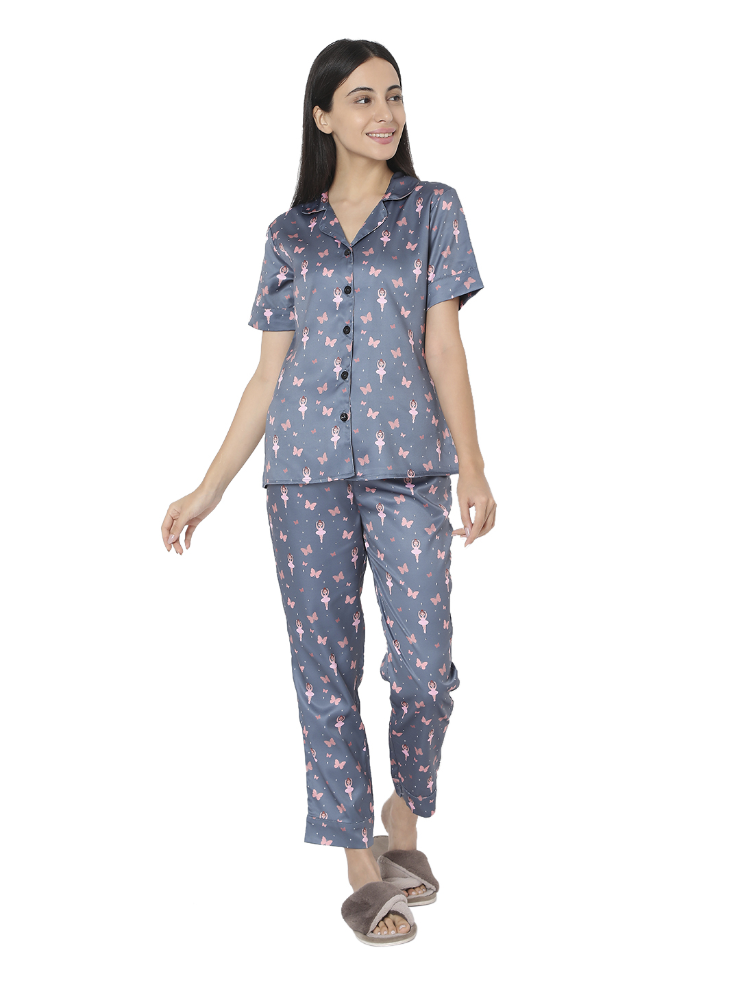 Smarty Pants   Smarty Pants women's silk satin grey color butterfly & dancing doll print night suit.