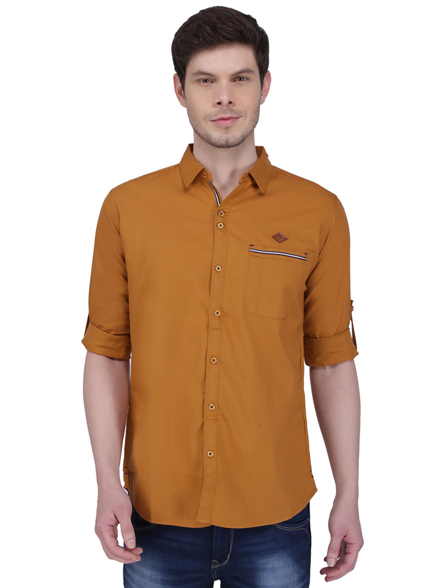 Kuons Avenue | Kuons Avenue Men's Mustard Linen Cotton Shirt- KACLFS1305YL