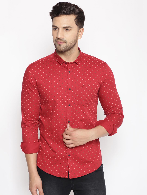 Showoff | SHOWOFF Men's  Cotton  Red Printed Slim Fit Shirt
