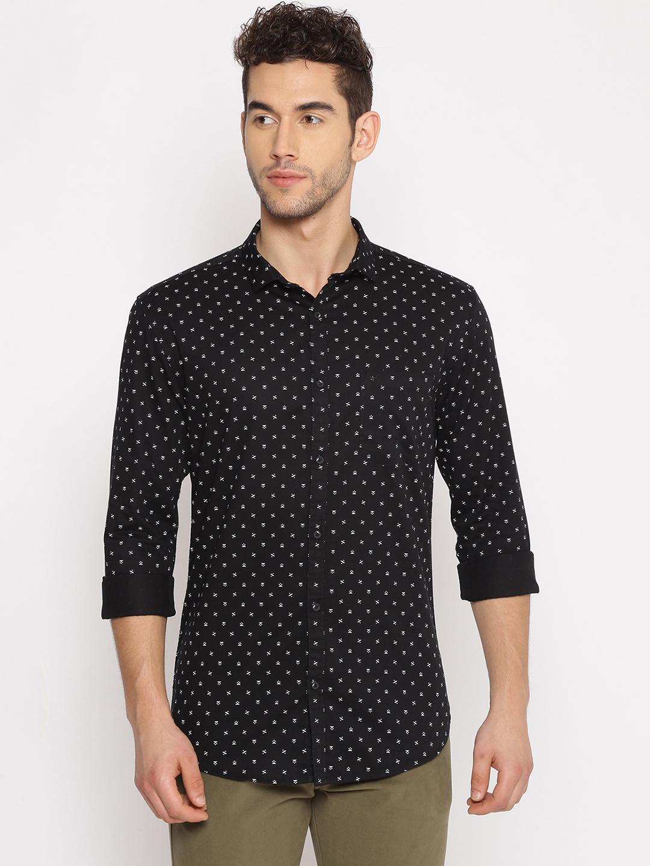 Showoff   SHOWOFF Men's  Cotton Casual Black Printed Slim Fit Shirt