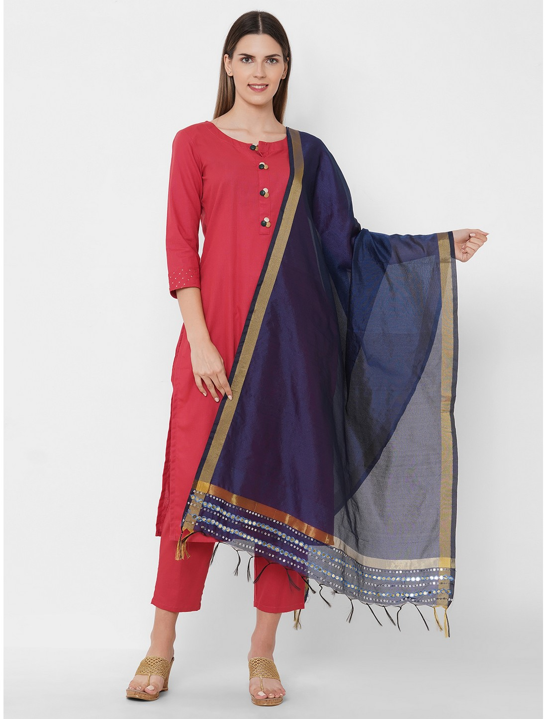 Get Wrapped | Get Wrapped Polyester Gold Border Blue Dupatta with Embroidery