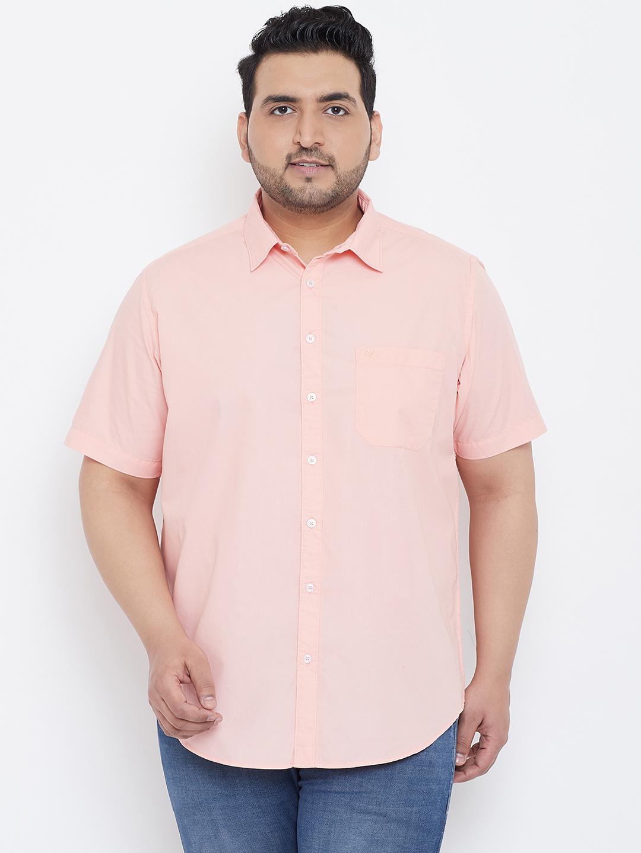 Chennis | Chennis Men's Casual Pink Plus Size Shirt
