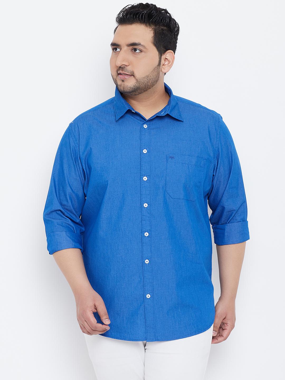 Chennis   Chennis Men's Casual Ink Blue Plus Size Shirt