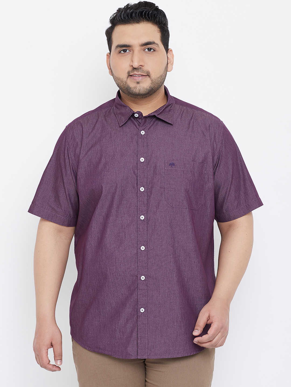 Chennis | Chennis Men's Casual Purple Plus Size Shirt