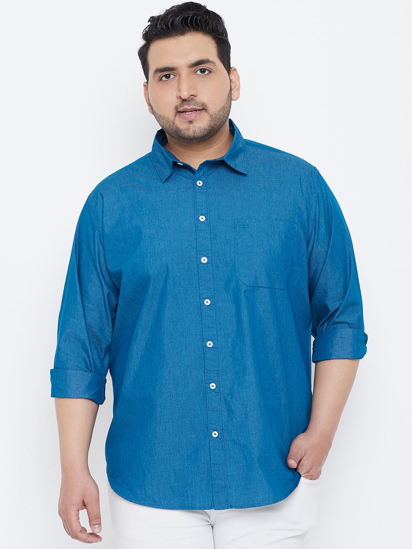 Chennis | Chennis Men's Casual Teal Plus Size Shirt