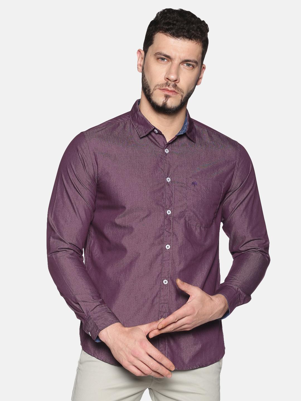 Chennis | Chennis Men's Purple Cotton Casual Shirt