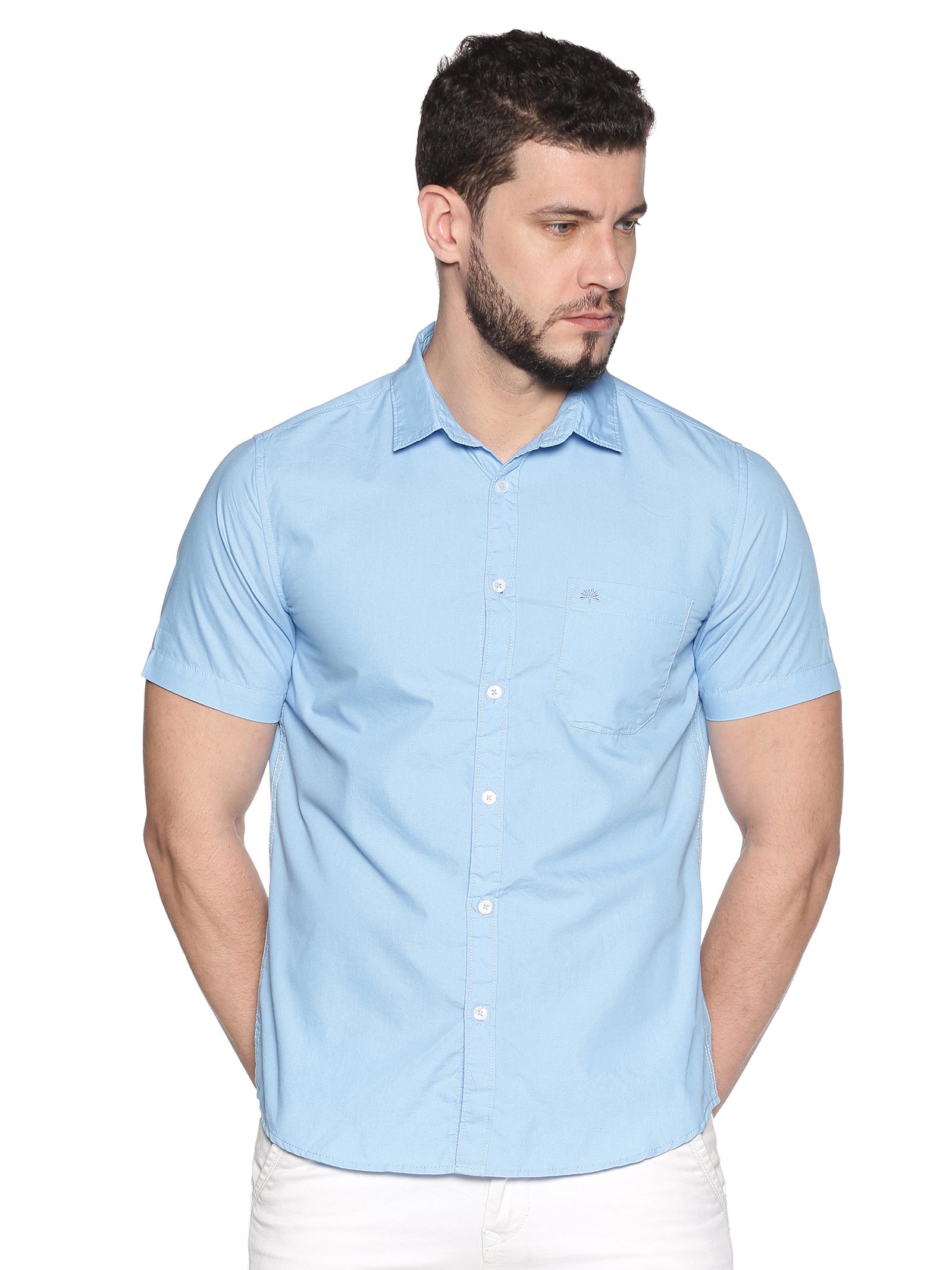 Chennis | Chennis Men's Powder Blue Cotton Casual Shirt