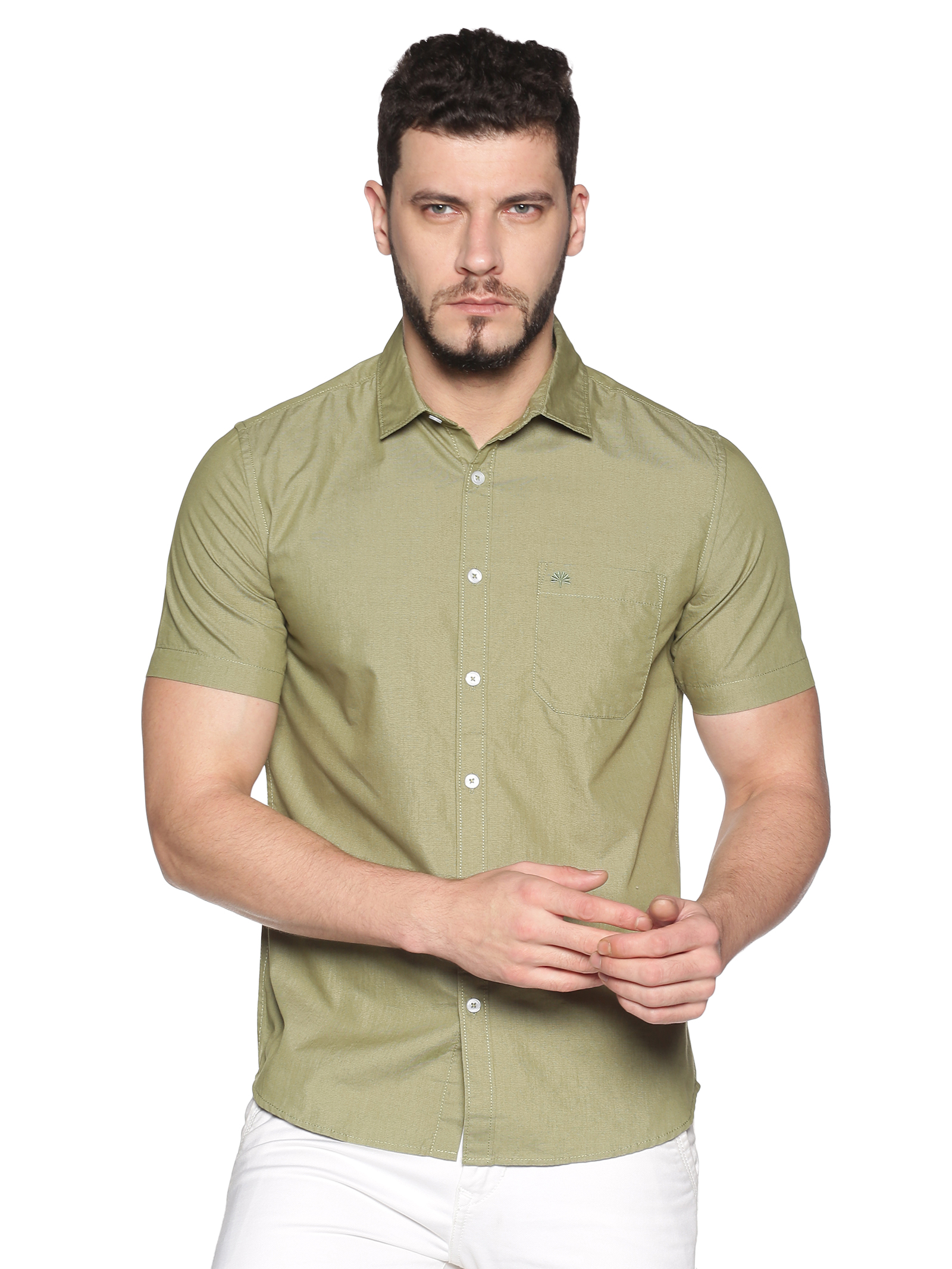 Chennis   Chennis Men's Olive Green Cotton Casual Shirt