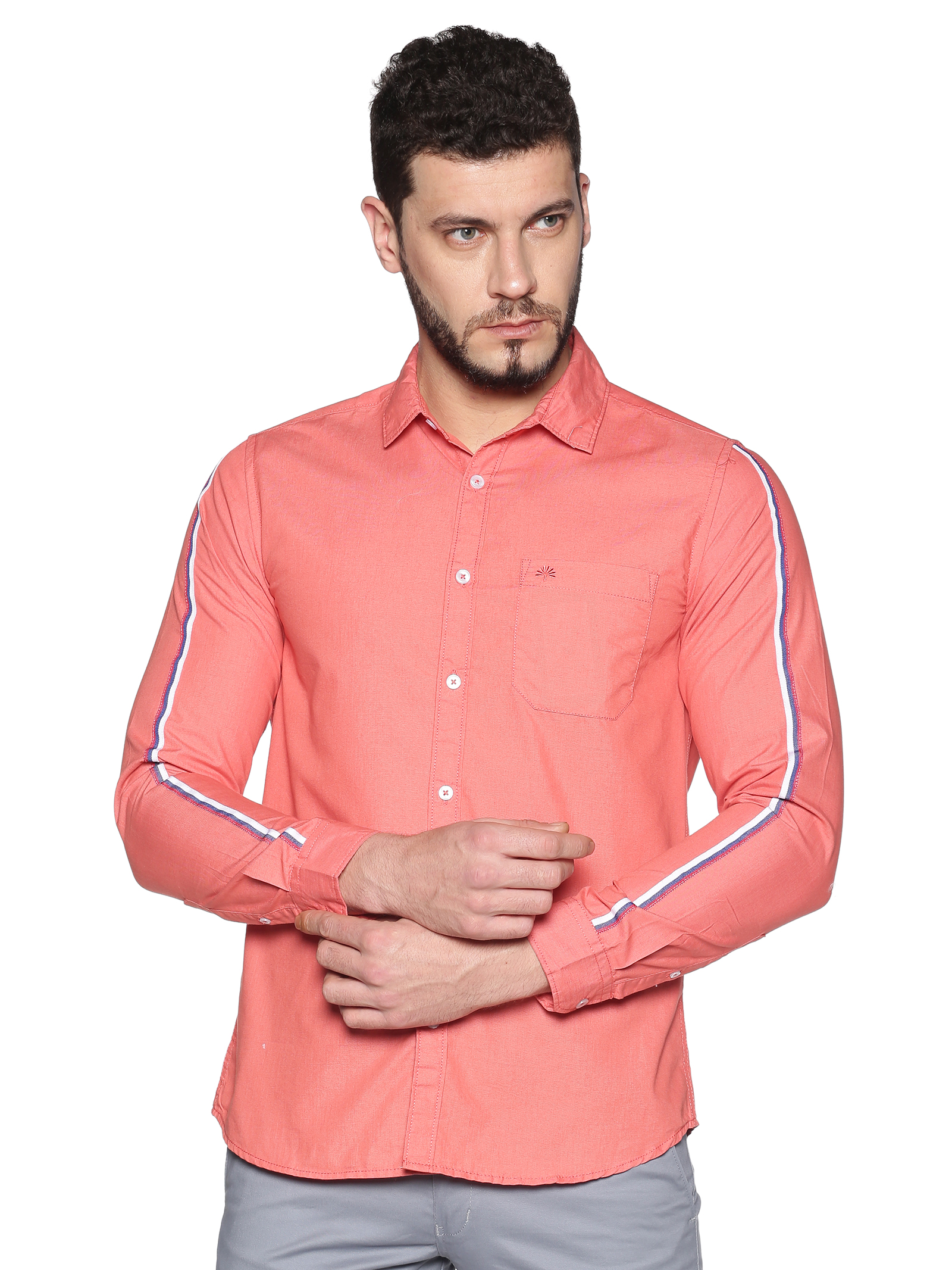 Chennis | Chennis Men's Coral Cotton Casual Shirt With Side Tape on Sleeves