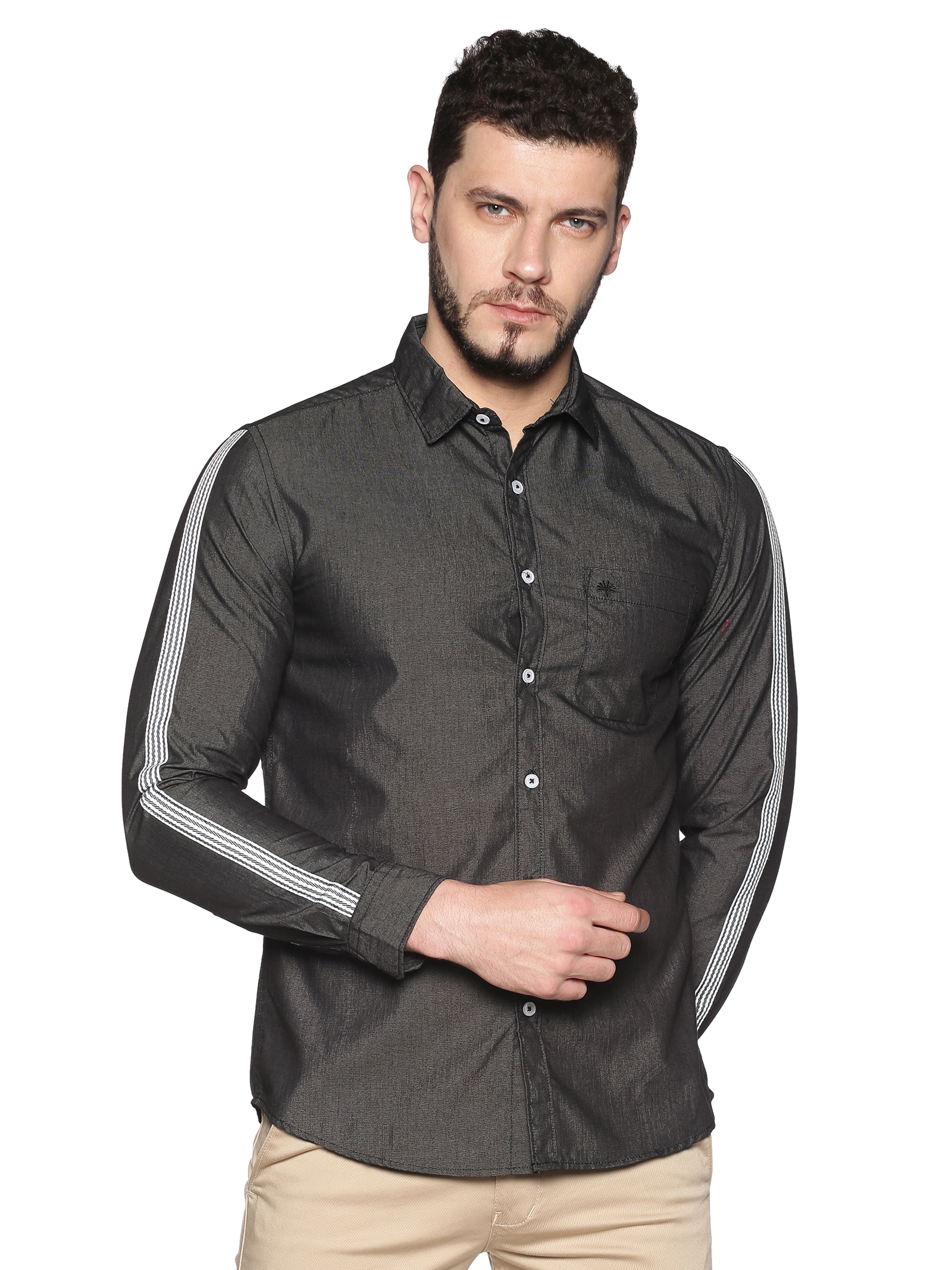 Chennis | Chennis Men's Charcoal Cotton Casual Shirt With Side Tape on Sleeves