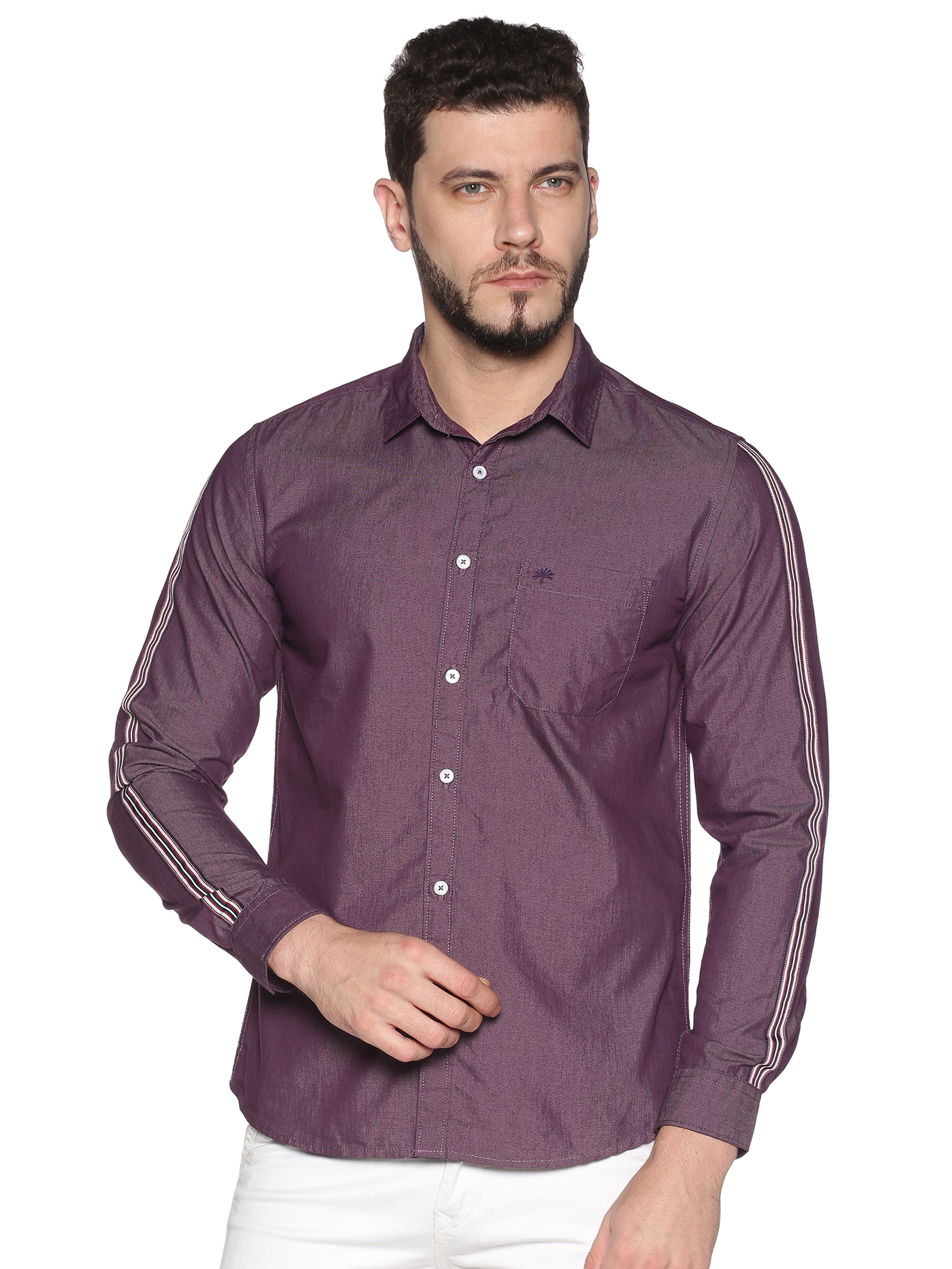 Chennis | Chennis Men's Purple Cotton Casual Shirt With Side Tape on Sleeves