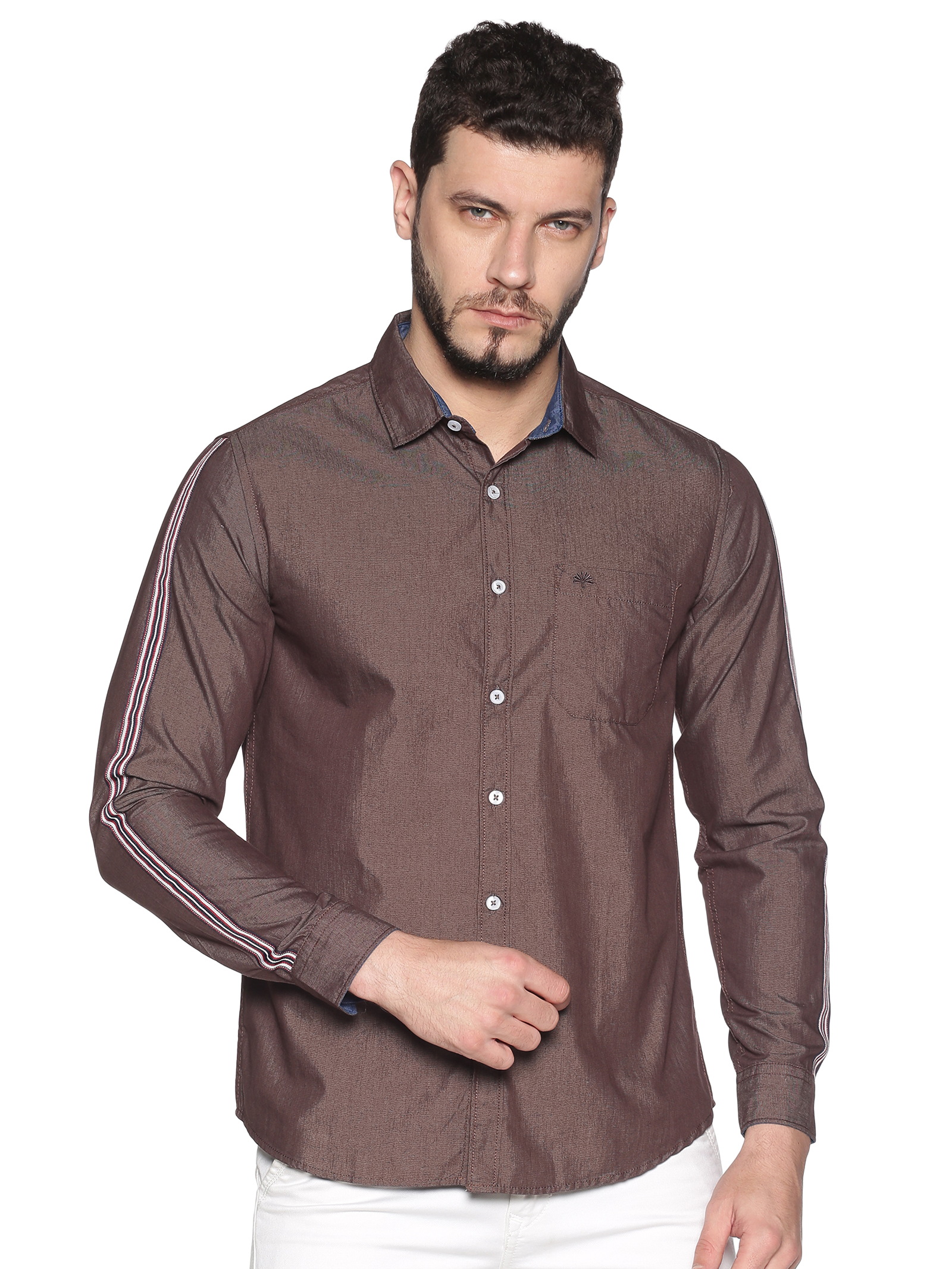 Chennis | Chennis Men's Brown Cotton Casual Shirt With Side Tape on Sleeves