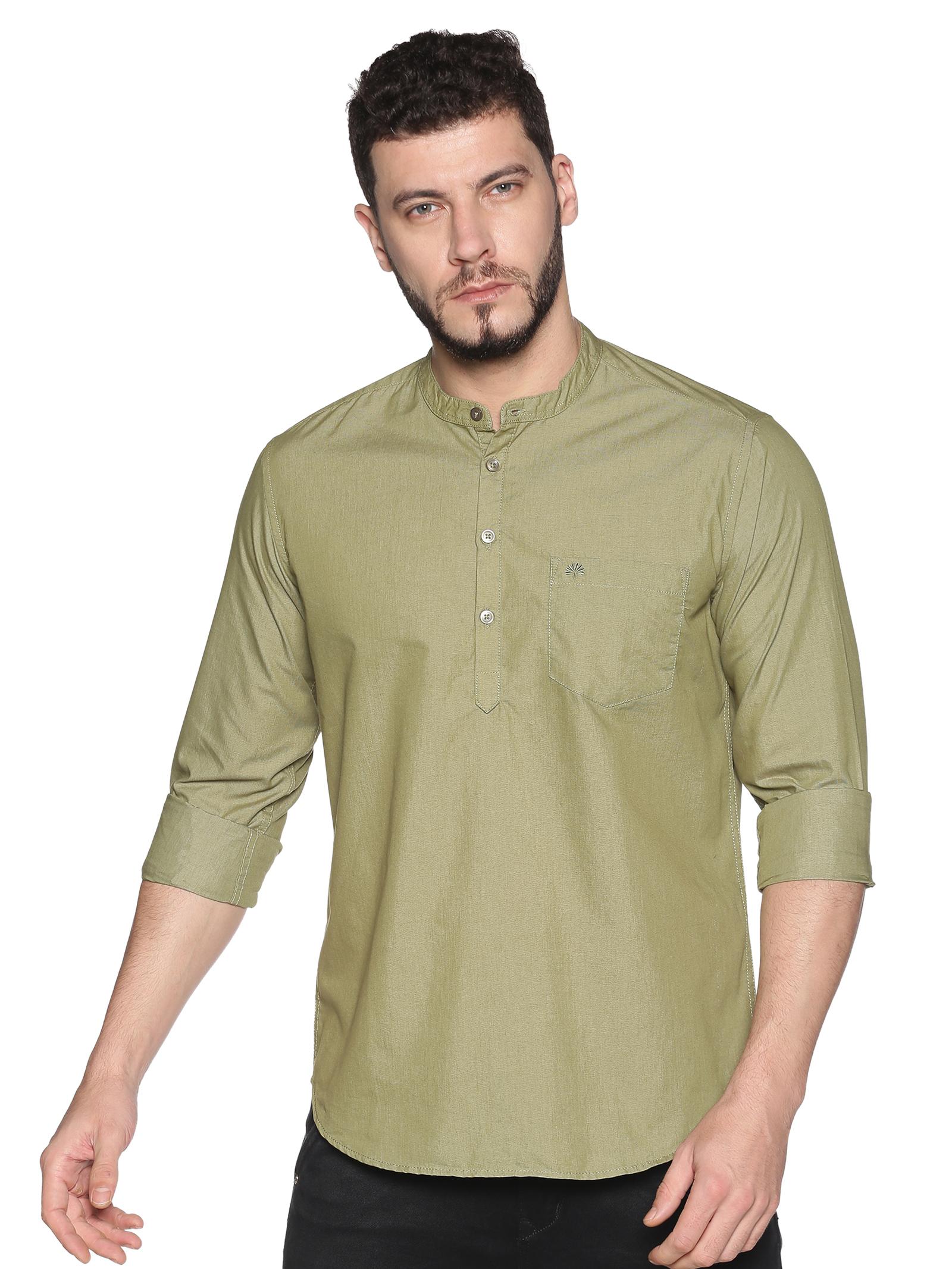 Chennis | Chennis Men's Olive Green Casual Cotton Kurta