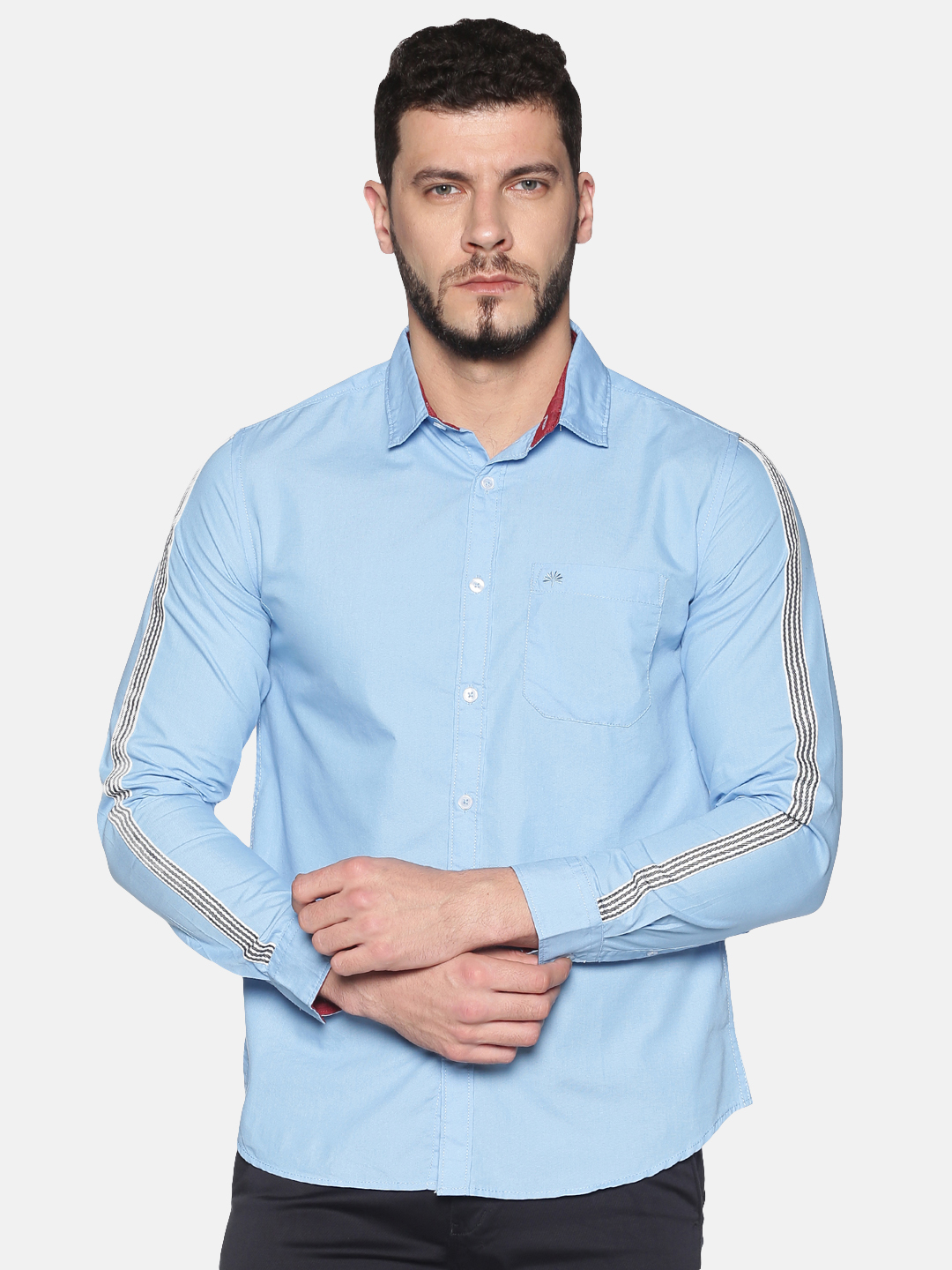 Chennis | Chennis Men's Powder Blue Cotton Casual Shirt With Side Tape on Sleeves