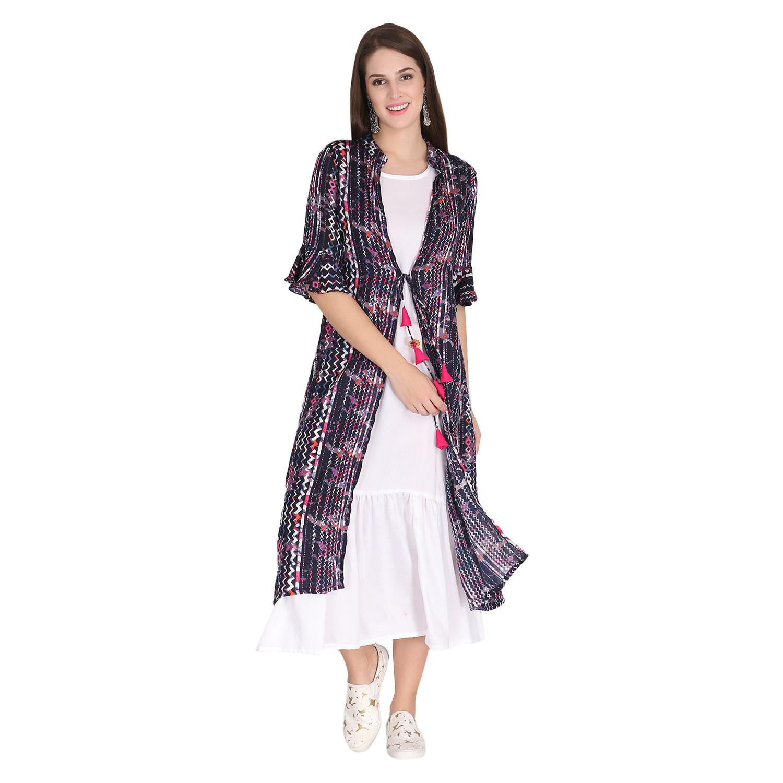 LABEL KARA | Zig Stripe Printed Jacket with Long Flare Slip Set