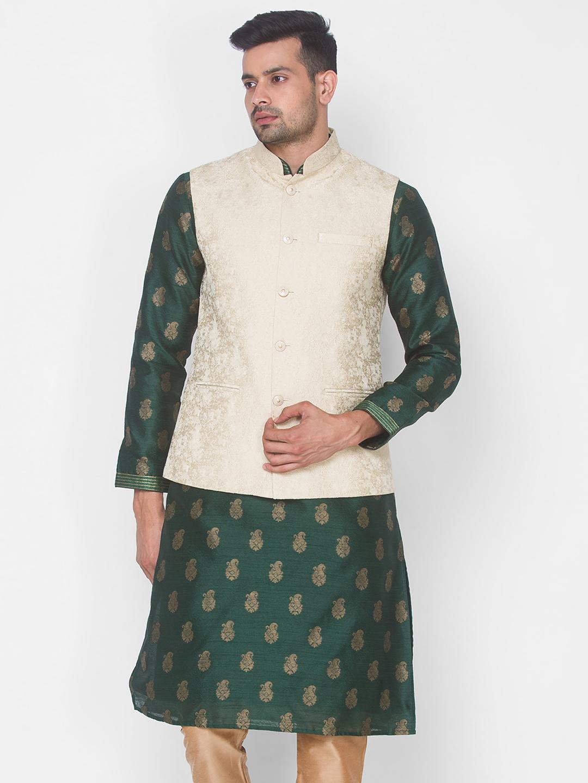 Ethnicity | Cream jacquard sleeveless jacket