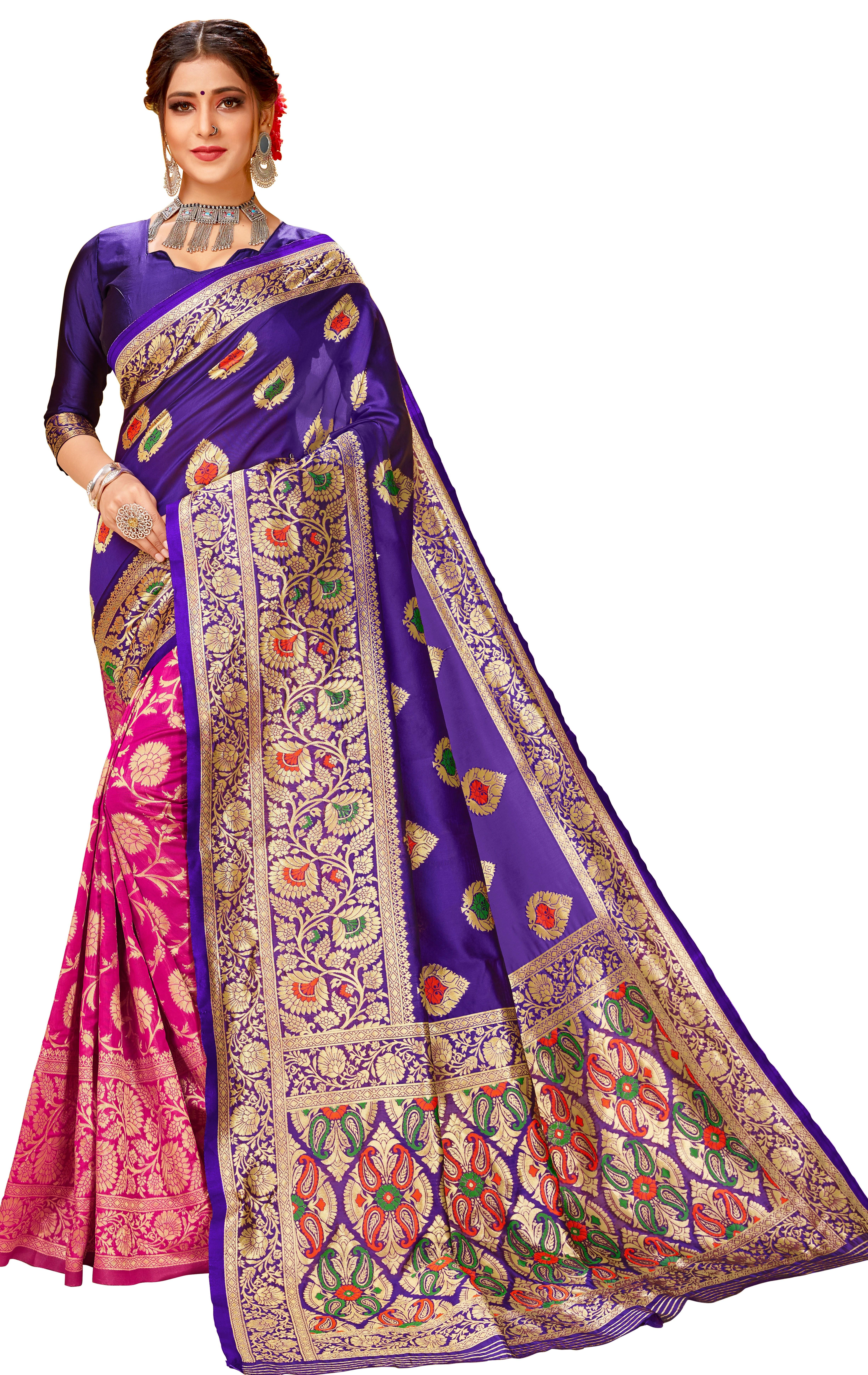 Glemora | Glemora Blue & Pink Lichi Cotton Chhaya Saree With Unstitched Blouse