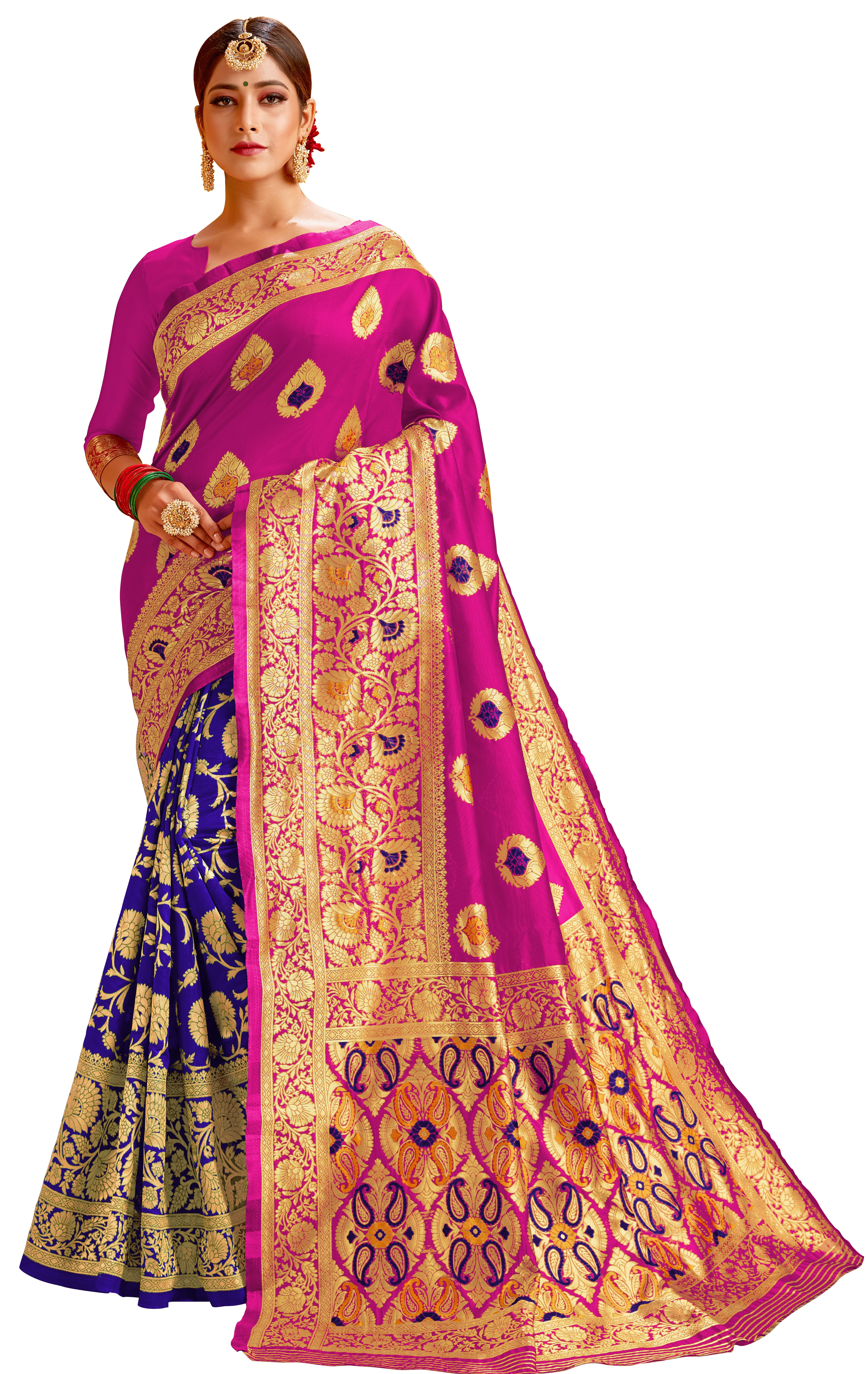 Glemora | Glemora Pink & Blue Lichi Cotton Chhaya Saree With Unstitched Blouse