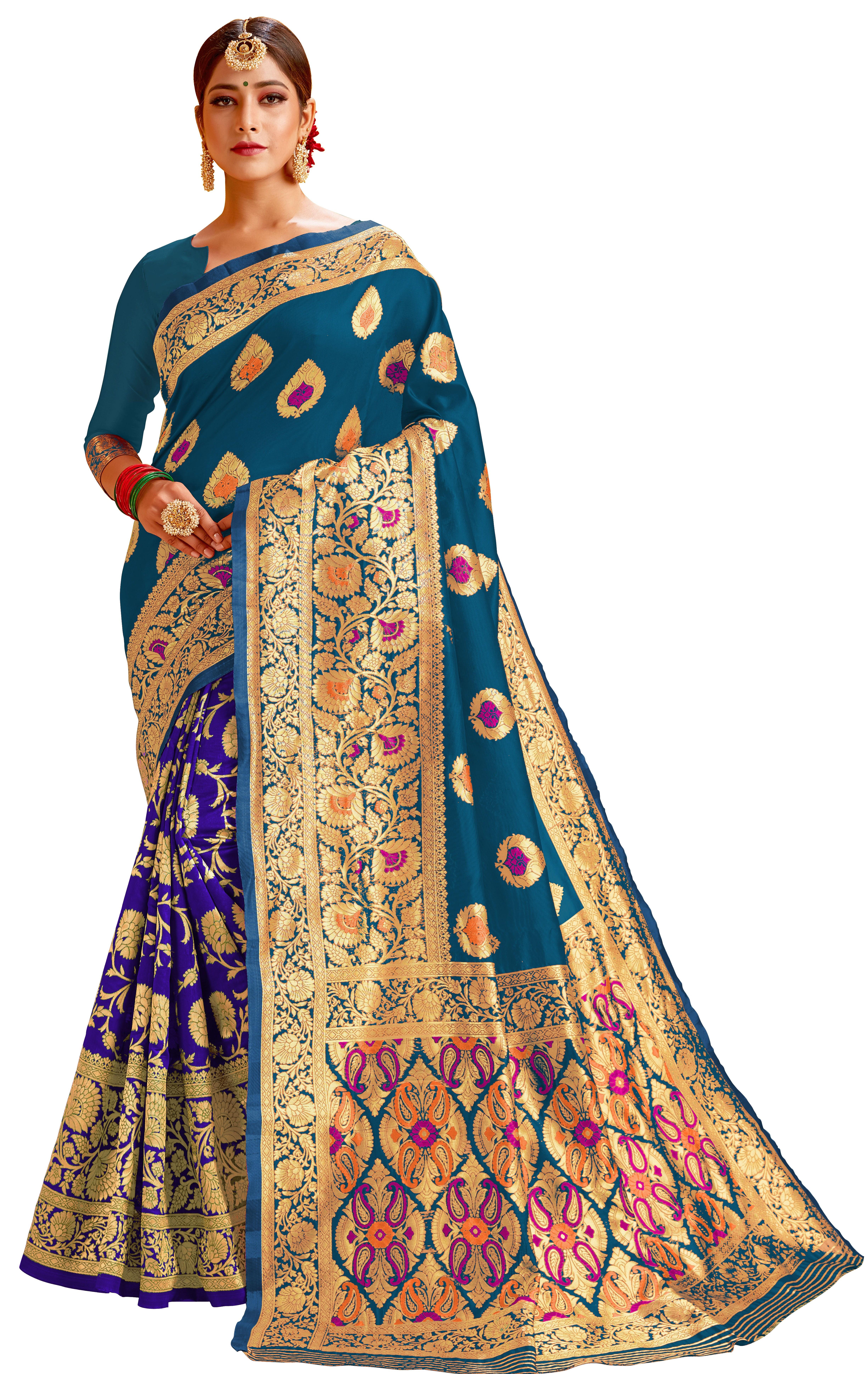 Glemora   Glemora Rama & Blue Lichi Cotton Chhaya Saree With Unstitched Blouse