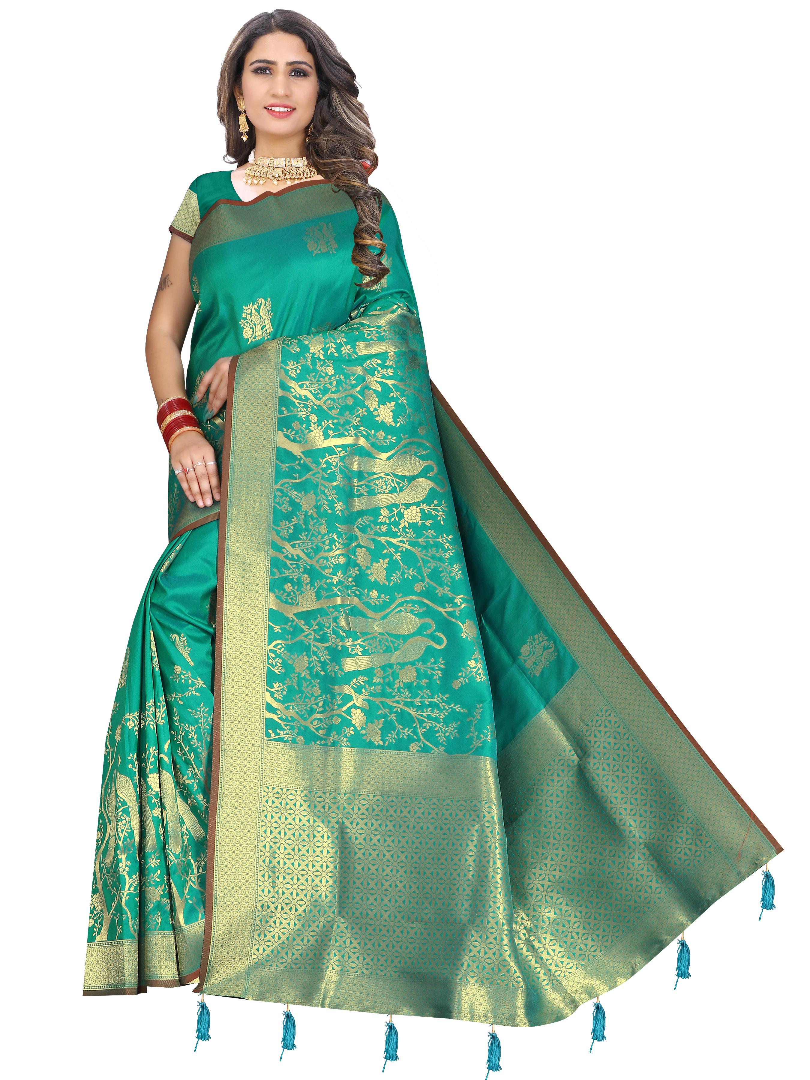 Glemora   Glemora Saree for Women Banarasi Silk With Blouse, Women Silk Sarees ( Rama )