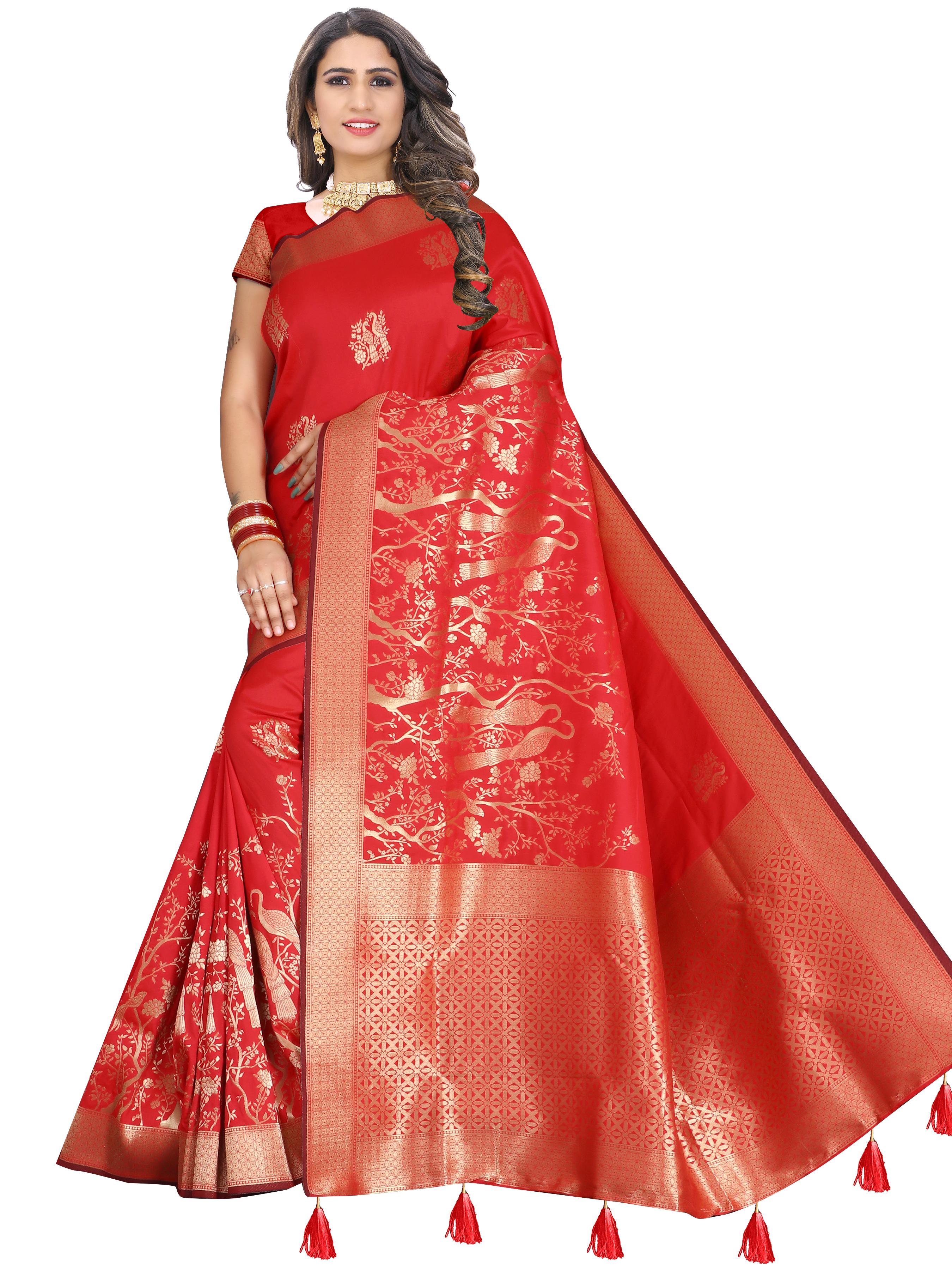 Glemora | Glemora Saree for Women Banarasi Silk With Blouse, Women Silk Sarees ( Red )
