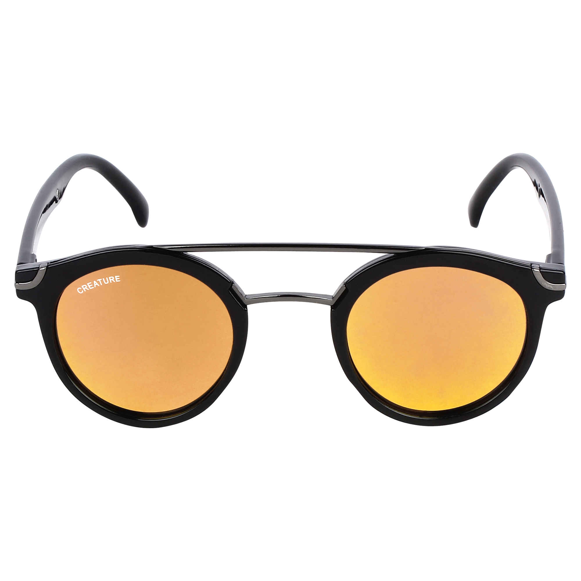 CREATURE   CREATURE Silver Stripped Round Sunglasses (Lens-Yellow Frame-Silver)