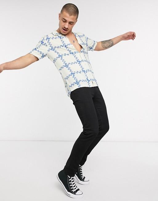Hemsters | Hemsters Cream And Blue Half Sleeve Shirt