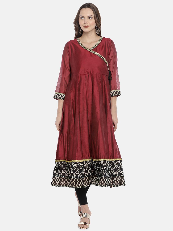 Ethnicity | Ethnicity Maroon Chanderi Women Kurta