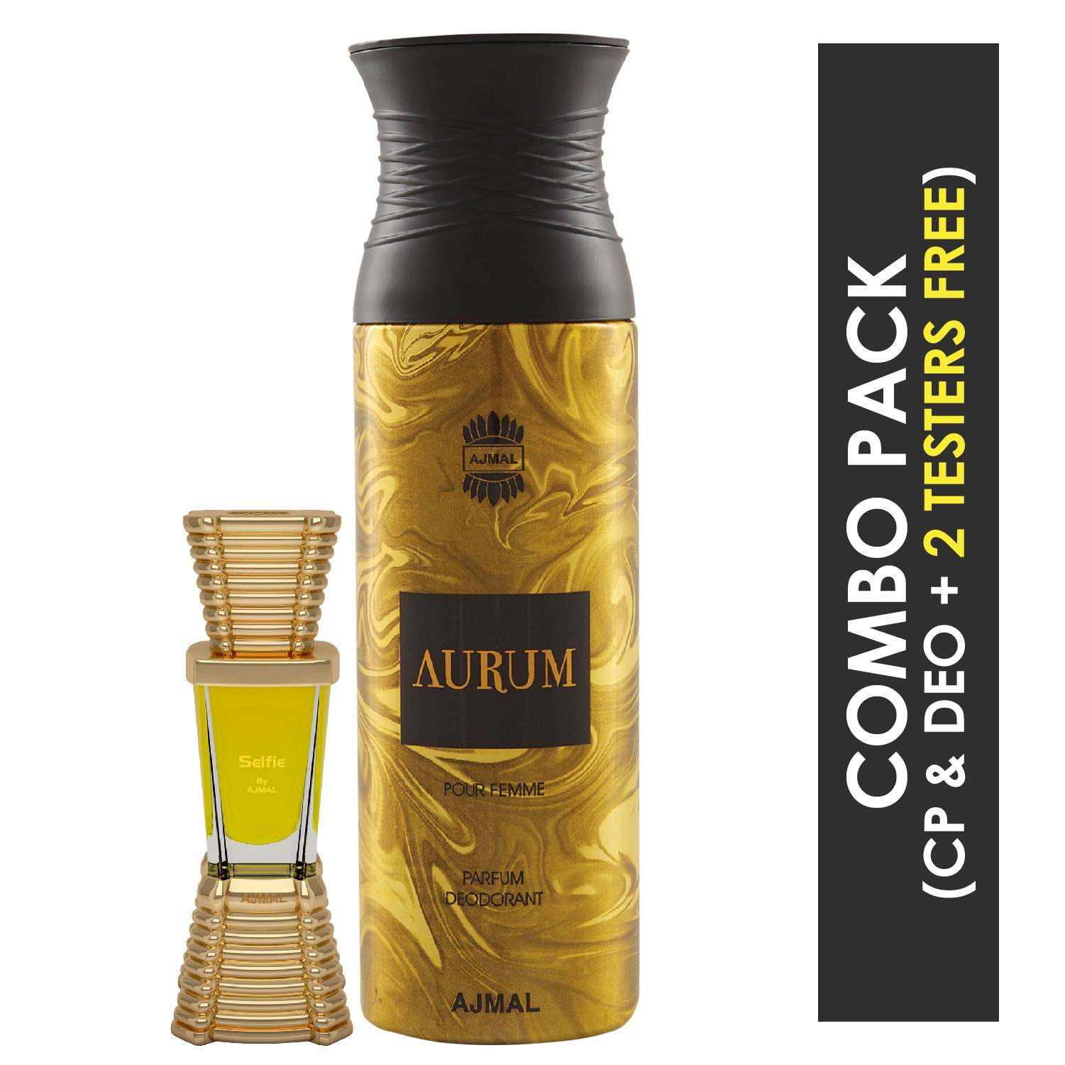 Ajmal | Ajmal Selfie Concentrated Perfume Oil Woody Aromatic Alcohol-free Attar 10ml for Men and Aurum Femme Deodorant Fruity Floral Fragrance 200ml for Women + 2 Parfum Testers FREE