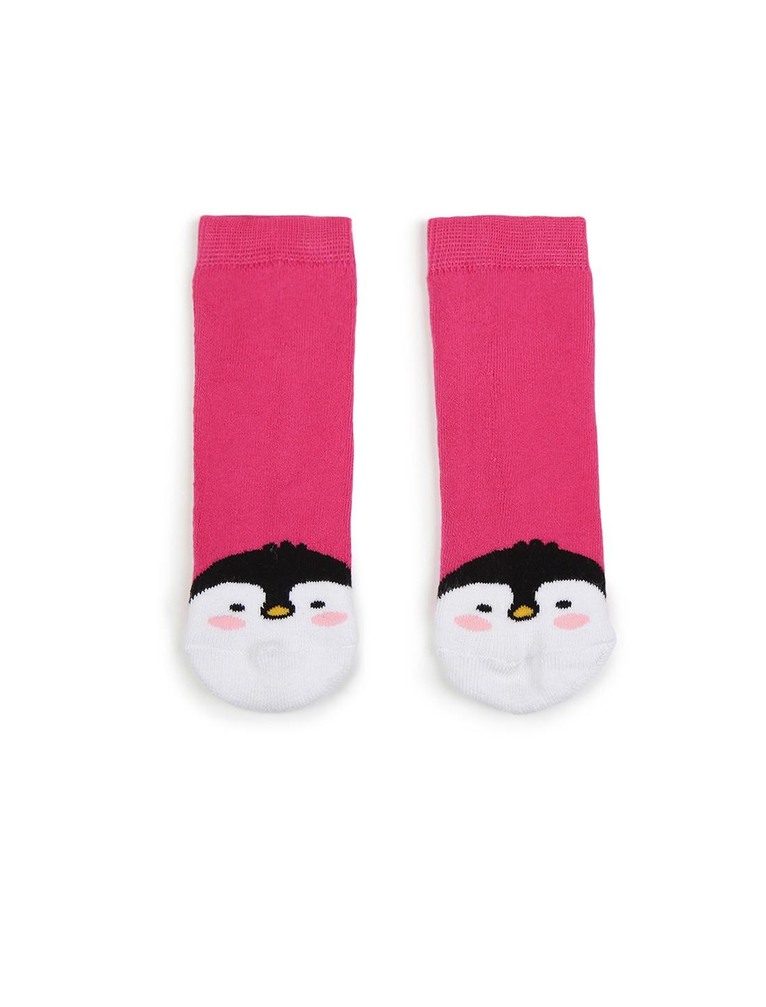 Soxytoes | Soxytoes Penguin Cotton Crew Length Pink Kids Socks-Age (2-4 Years)
