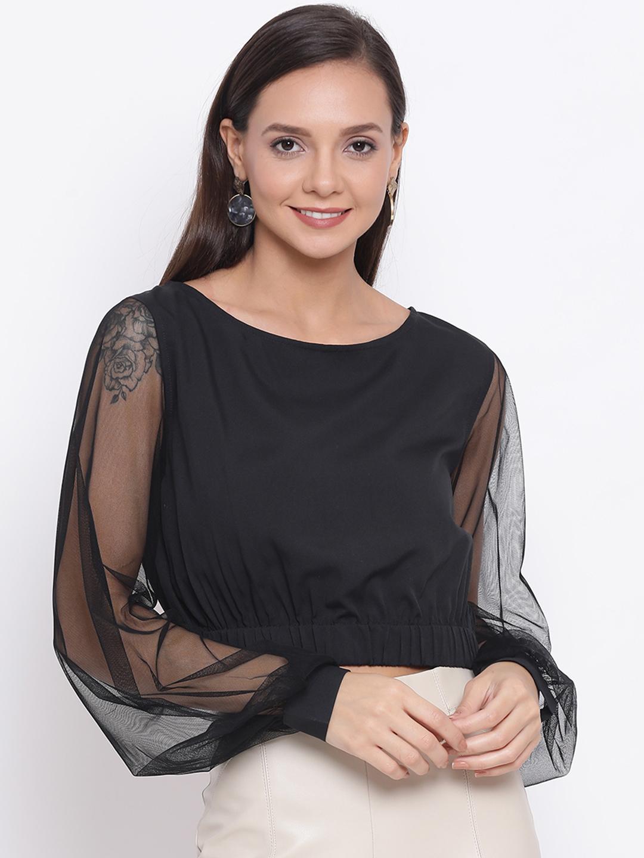 DRAAX fashions | DRAAX FASHIONS Women Black Self Design Semi-Sheer Net Cropped Top