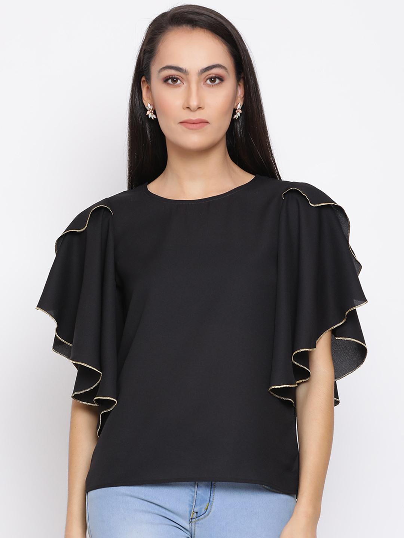 DRAAX fashions | DRAAX FASHIONS Women Black colour Cinched Waist Top