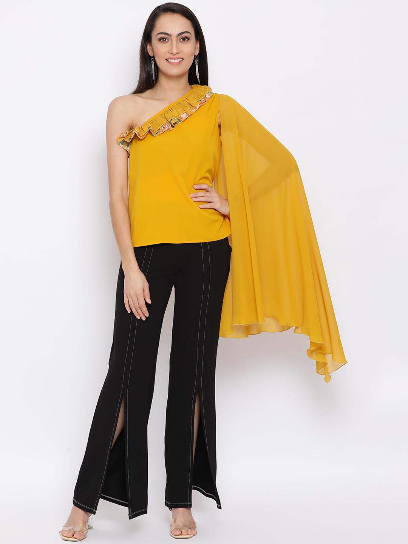 DRAAX fashions | DRAAX FASHIONS Women Yellow Solid embellished  Top