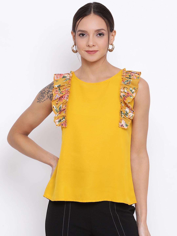 DRAAX fashions | DRAAX FASHIONS Women Yellow Solid Top