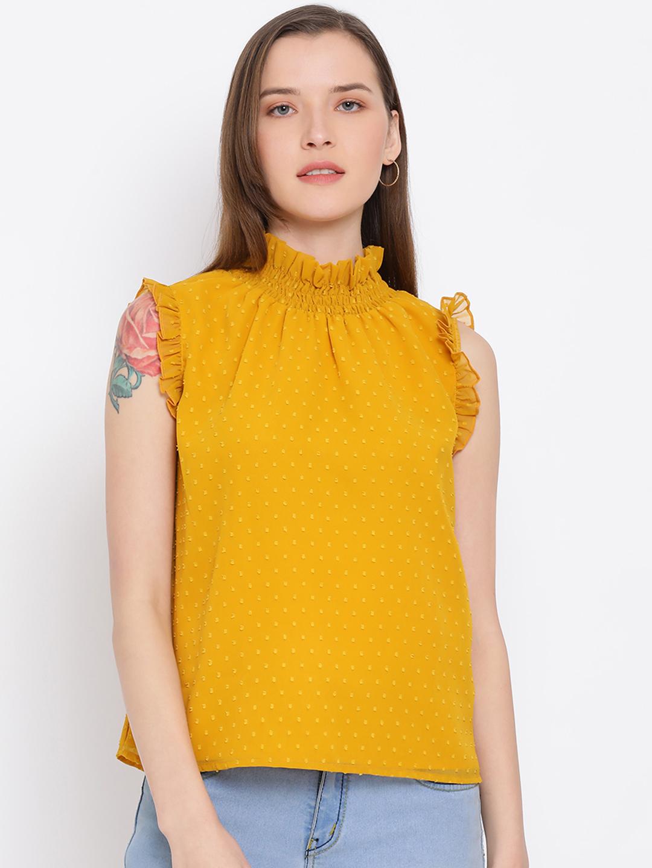 DRAAX fashions   DRAAX FASHIONS Women Yellow Spaghetti Embellished Top