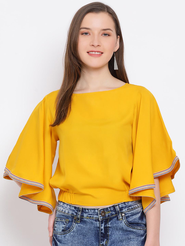 DRAAX fashions | DRAAX FASHIONS Women yellow Solid Top with  Sleeves