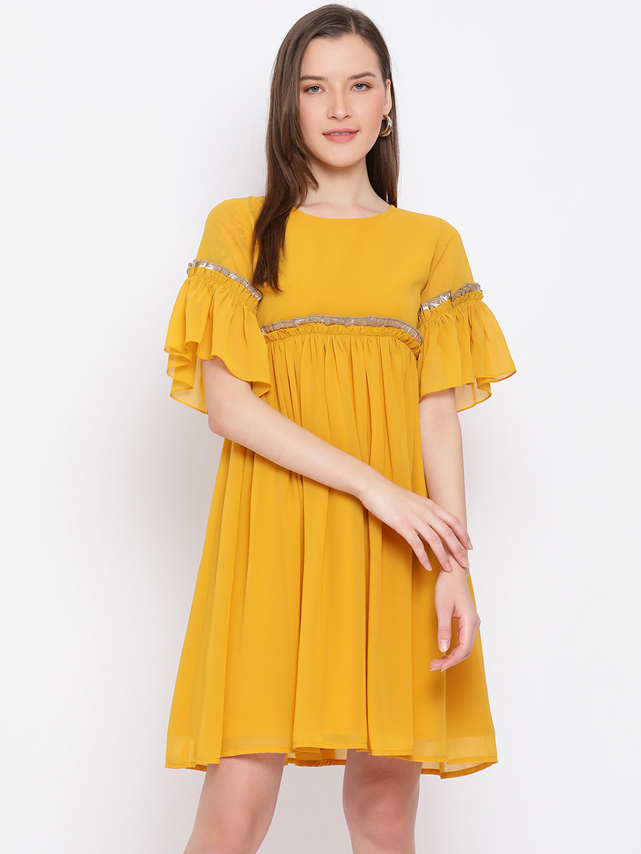 DRAAX fashions   DRAAX FASHIONS Women Yellow Embellished Dress