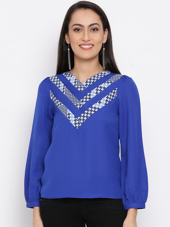 DRAAX fashions   DRAAX FASHIONS Women Blue Solid Top